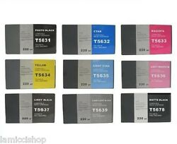 Wide Format Ink 9 Cartridge Set Compatible With Stylus Pro 7800 9800 Printers.