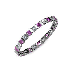 Amethyst And Diamond Si2-i1 G-h Princess Cut Channel Eternity Band In 14k Gold