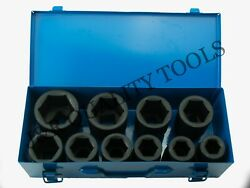 10 Pc 1 One Inch Drive Dr Deep Big Size Air Black Impact Socket Wrench Tool Set