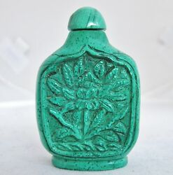 2.05 Vintage Chinese Malachite Or Green Stone Snuff Bottle With Carved Flower
