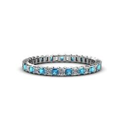 Blue And White Diamond 2mm Eternity Band 1.40-1.65 Carat Tw In 14k Gold Jp33658