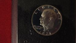 2 1971s Brown Box Eisenhower Dollars Proof Good Condition With Box From Mint