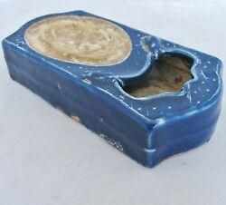 6.55 Chinese Cobalt Blue Glazed Porcelain Ink Stone / Water Coupe With 2 Mice