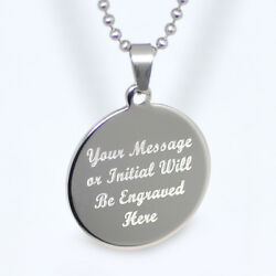 Personalized Stainless Steel Round Circle Pendant Necklace Free Engraving $14.99