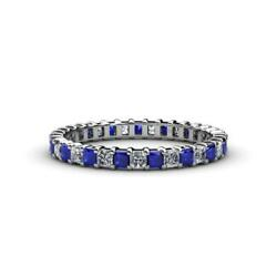 Princess Sapphire And Diamond Eternity Ring Stackable 2.38 Ctw 14k Gold Jp33815