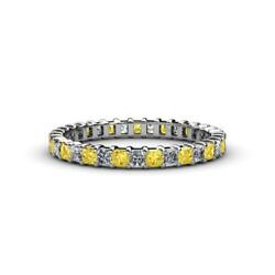 Princess Sapphire And Diamond Eternity Ring Stackable 2.38 Ctw 14k Gold Jp33821