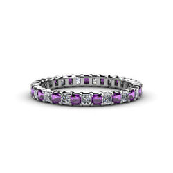 Princess Amethyst And Diamond Eternity Ring Stackable 2.38 Ctw 14k Gold Jp33833