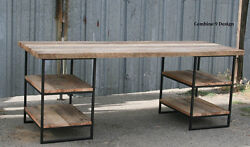 Desk Made Of Steel And Reclaimed Wood. Shelving/storage. Industrial. Urban.
