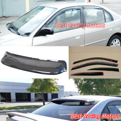 JDM Style Side Window + Rear Roof Visors Fit 01-05 Honda Civic 4dr