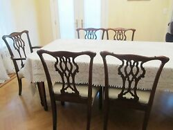 Set Six 6 Solid Mahogany Wood Antique Dining Chairs