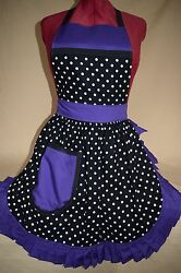 Retro Vintage 50s Style Full Apron / Pinny - Black And White Spot With Purple Trim