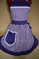Retro Vintage 50and039s Style Full Apron / Pinny - Purple And White