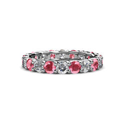 Tourmaline And Diamond Womens Eternity Ring Stackable 2.76 Ctw 14k Gold Jp29636