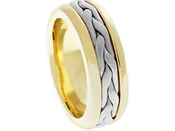 18K Yellow Gold Wedding Band 2Tone Platinum Woven 7mm Comfort Fit Mens Women
