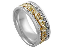 Platinum 18K Yellow Gold Wedding Band 2Tone Floral 9mm Comfort Fit Men Women