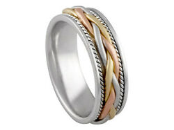 Tricolor 18k White Yellow Rose Gold Wedding Band Braided 7mm Comfort Fit Men