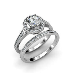Diamond Halo Engagement Ring And Diamond Band 0.80 Ctw In 14k Gold Jp18362