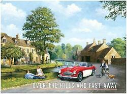 Over The Hills Sports Car Large,medium,small Vintage Steel Wall Plaque Tin Metal