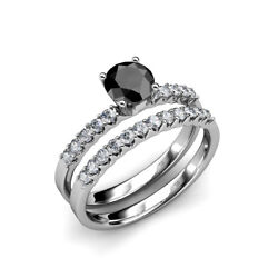 Black And White Diamond Engagement Ring And Diamond Band 1.95 Ctw 14k Gold Jp18392
