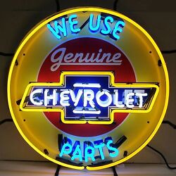 We Use Genuine Chevrolet Parts Neon Sign - Sales And Service - Chevy Dealership
