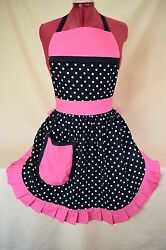 Retro Vintage 50s Style Full Apron / Pinny - Black And White Spot With Pink Trim