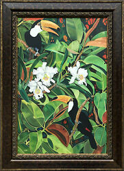 Oil Painting On Canvas Paradise 1 24x36.framed 34x46 Signed Lx By Artist
