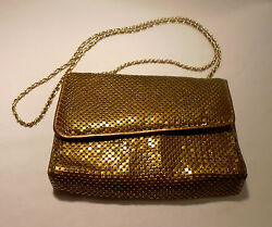 GOLDEN  BRONZE COLOR  MESH  EVENING BAG  (CLUTCH  OR  STRAP)
