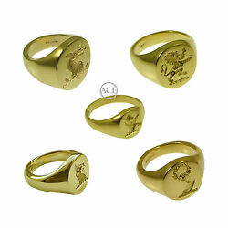 New 18ct Family Crest Yellow Gold Oval Signets Rings Your Design 750 Uk Hm Solid