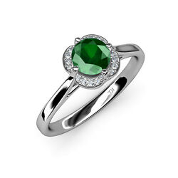 Emerald And Diamond Women Halo Engagement Ring 0.81 Ct Tw In 14k Gold Jp36135