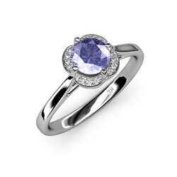 Tanzanite And Diamond Women Halo Engagement Ring 0.98 Ct Tw In 14k Gold Jp36111