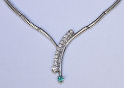 .90ct Vs2 G Color Round Diamond And .30ct Emerald 14k White Gold 16 Necklace
