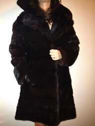 Magnificent, Vintage Black Dyed Horizontal Cut Mink Coat From The 70's