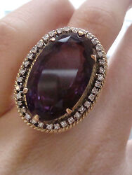 Edwardian Ornate 18ct Very Large Amethyst 12ct And Diamond Cluster Ring
