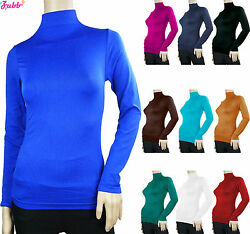SOFT SEAMLESS STRETCH LONG SLEEVE SHIRT TURTLENECK MOCK HIGH NECK TOP SLIM FIT $5.99