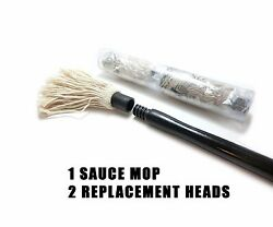 Bbq Choice Set Of Hardwood/cotton Barbecue Sauce Mop And 2 Replacement Heads