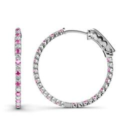 Pink Sapphire And Diamond Inside-out Hoop Earrings 2.77 Ctw In 14k Gold Jp36609