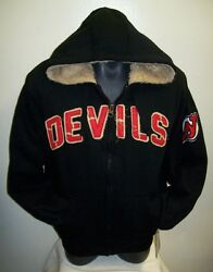 Nhl New Jersey Devils Thick Sherpa Lined Full Zip Hoody Sewn Logos S M
