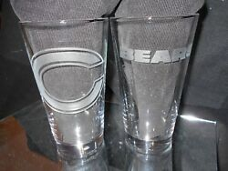 Chicago Bears 2 Etched Logo Pint 16 Oz Glasses Multiple Logos New