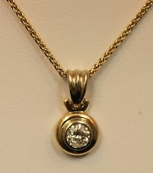 Round Solitaire .85ct Si1 H Color Diamond 14k Solid Yellow Gold 17 Necklace