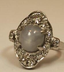 Vintage Estate 2.50ct Star Sapphire And 1ct Si1 G Color Diamond Platinum Ring