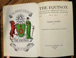 The Equinox The Official Organ Of The A. A.- 1974, Books On Collecting