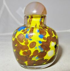Vintage Chinese Morano Style Yellow And Gold Glass Snuff Bottle W/ Agate 2.3