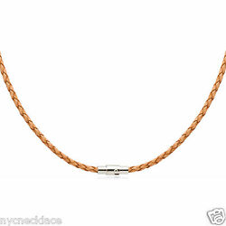 4mm Natural Braided Bolo Leather Cord Necklace Silver Tone Magnetic Lock 14-36