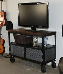 Industrial Retro Iron Media Center, Handcrafted Usa, Steel With Solid Hardwood