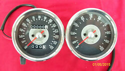 Triumph Motorcycle Reproduction Smith Grey Faced Speedometer And Tachometer