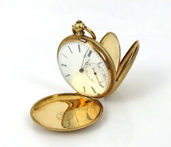 1880's French Arnold Nicoud Enamel And 18k Gold Fancy Hunter Case Pocket Watch