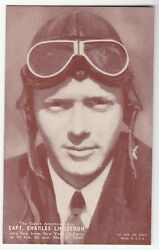 [51469] Old Exhibit Card Pin-up Capt. Charles Lindbergh The Great American Ace