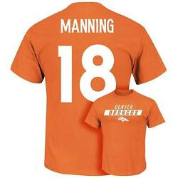 Nwt Peyton Manning Denver Broncos Majestic Aggressive Speed Mens T-shirt