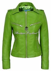 Ladies Fashion Leather Jacket Lime Green Biker Series 100 Real Leather 9823