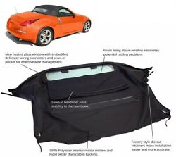 Fits Nissan 350z Convertible Soft Top And Heated Glass Window Black Twill
